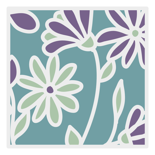 Green purple daisy floral design square flat