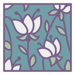 Green white floral design square flat