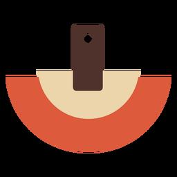 Pendiente de piel semicircular plano