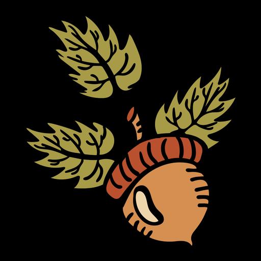 Hand drawn acorn leaf flat