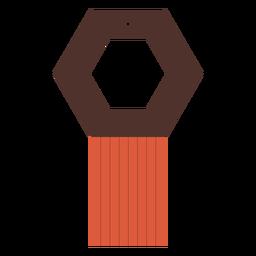 Hexagon tassel leather earring flat
