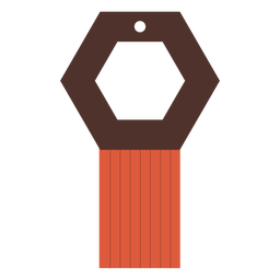Pendiente de cuero con borla hexagonal plano