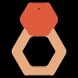 Pendientes de piel hexagonales planos