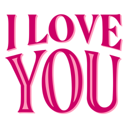 I love you valentine lettering