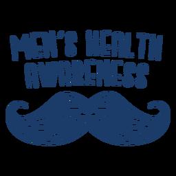Homens saúde pontilhado bigode citação azul