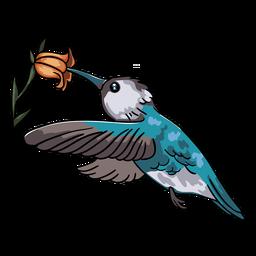 Ilustración de flor de colibrí azul pájaro realista