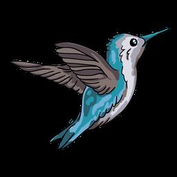 Ilustración de vuelo realista pájaro colibrí azul