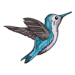 Realistic bird blue hummingbird flying illustration