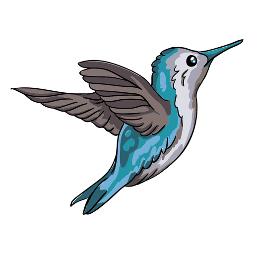 Ilustração realística do colibri azul do pássaro voando