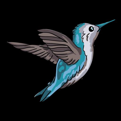 Ilustración de vuelo de colibrí azul pájaro realista