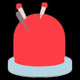 Ícone plano de agulhas de almofada de alfinetes vermelha