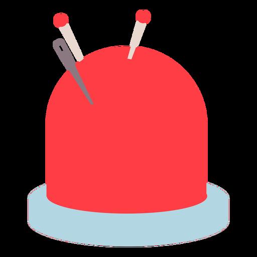 Icono plano de agujas de cojín rojo pin