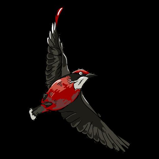 Red realistic bird flying illustration