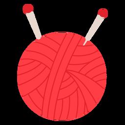 Icono plano de bola de hilo rojo