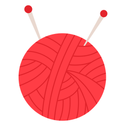 Red yarn ball flat icon