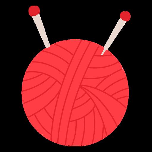 Red yarn ball flat icon