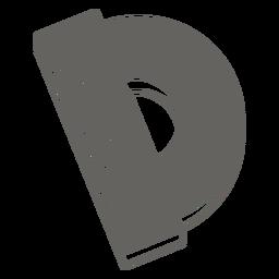 Icono plano gris regla redonda