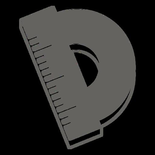 Icono plano gris de regla redonda