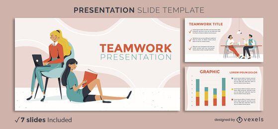 Plantilla de presentación de personajes de trabajo en equipo