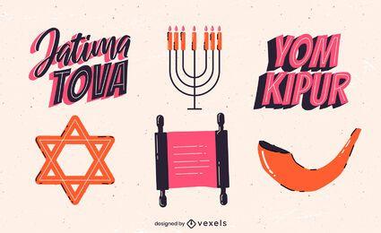 Pacote de elementos coloridos de Yom Kipur