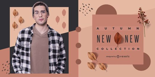 Otoño nuevo diseño de banner de colección