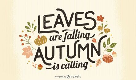 leaves falling autumn lettering design