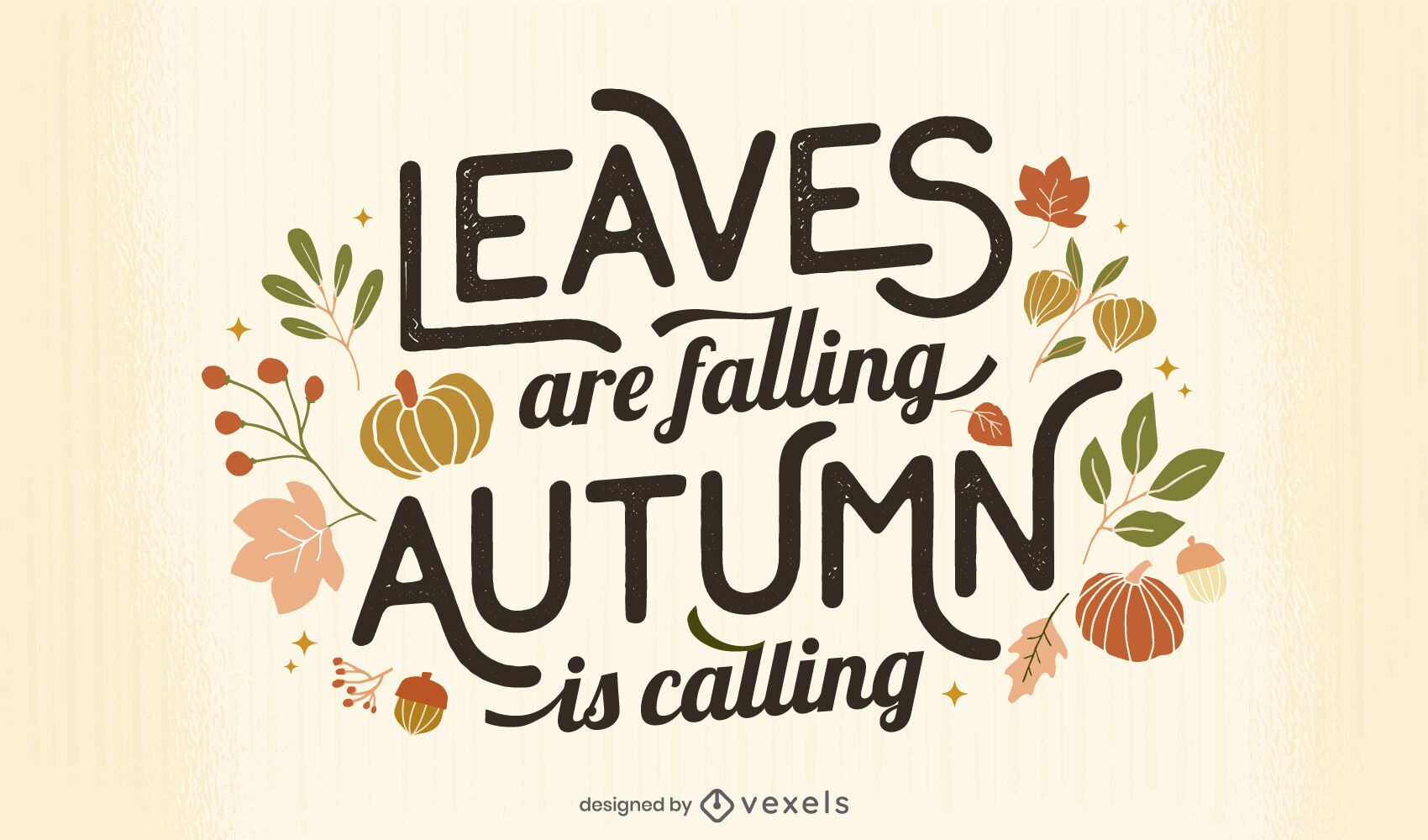 leaves falling autumn lettering design