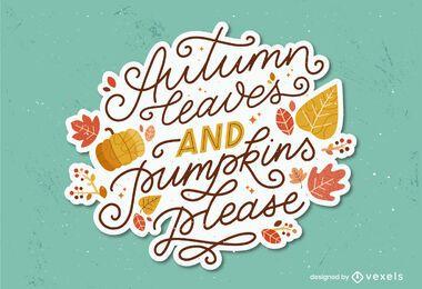 desenho de letras de folhas de outono