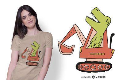diseño de camiseta de dinosaurio bulldozer