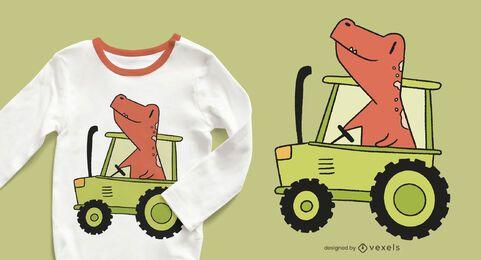 diseño de camiseta de tractor dinosaurio