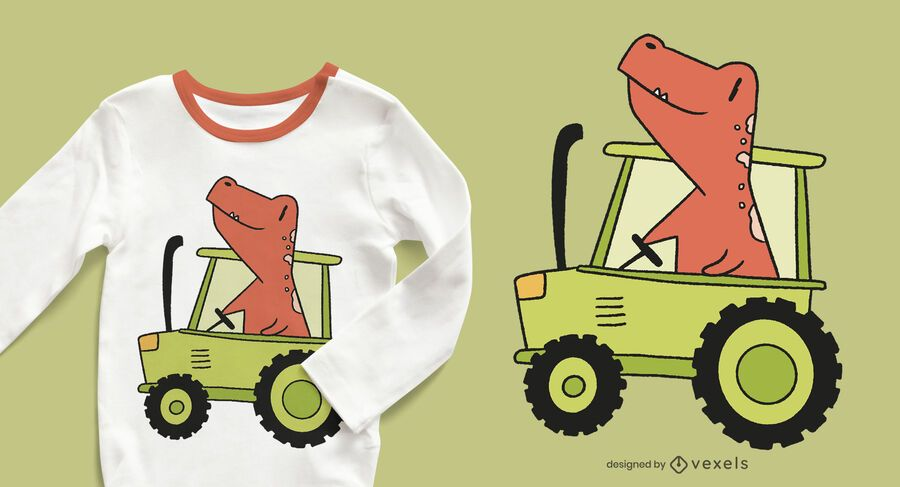 dinosaur tractor t-shirt design