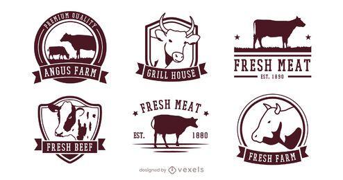 conjunto de crachá de carne de vaca