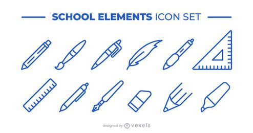 school supplies icon set collection