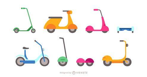 conjunto de colección de scooter plano