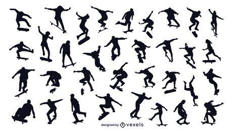 conjunto de silueta de skateboarding