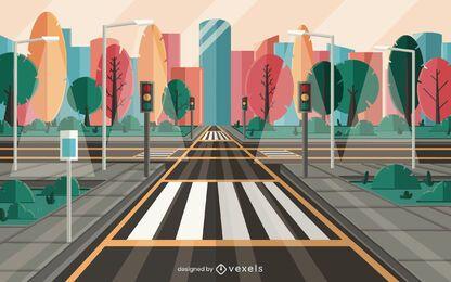 projeto de ilustração de rua da cidade