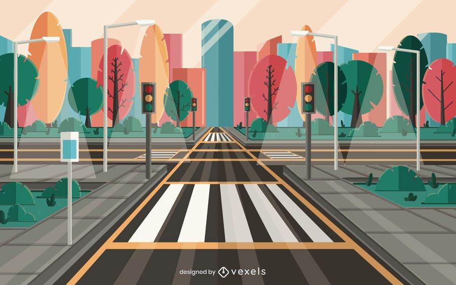 diseño de ilustración de calle de la ciudad