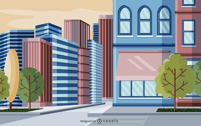 city buildings illustration design
