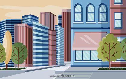 projeto de ilustração de edifícios da cidade
