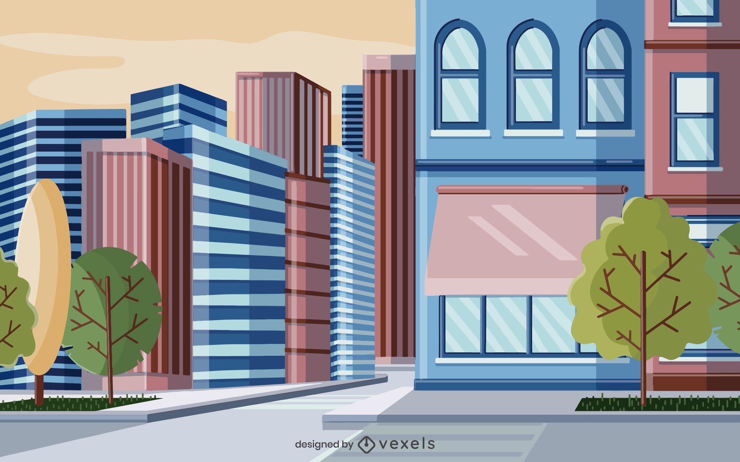 diseño de ilustración de edificios de la ciudad
