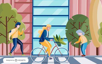 projeto de ilustração de faixa de pedestres de pessoas