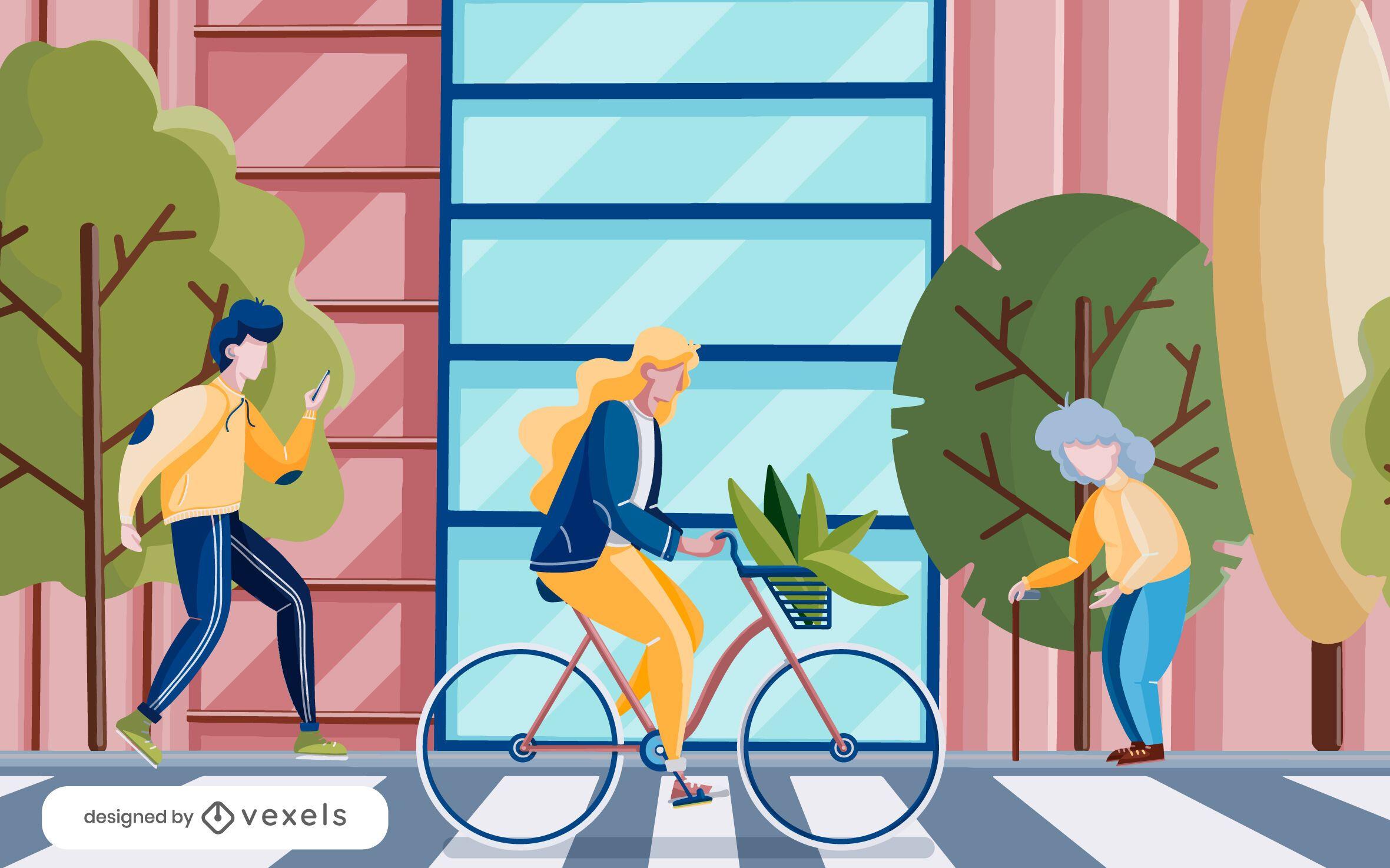 people crosswalk illustration design