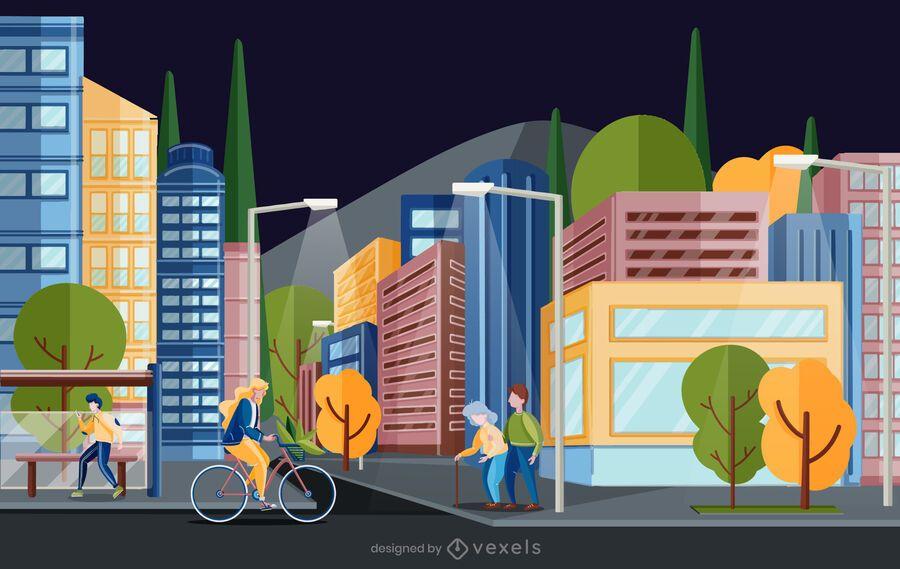 escena de ilustración de calle de la ciudad
