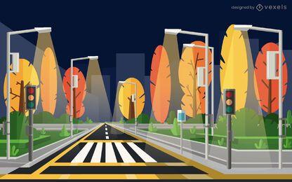 projeto da ilustração da rua da cidade da noite