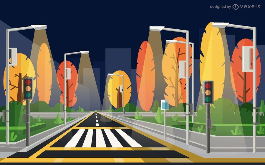diseño de ilustración de calle de la ciudad de noche
