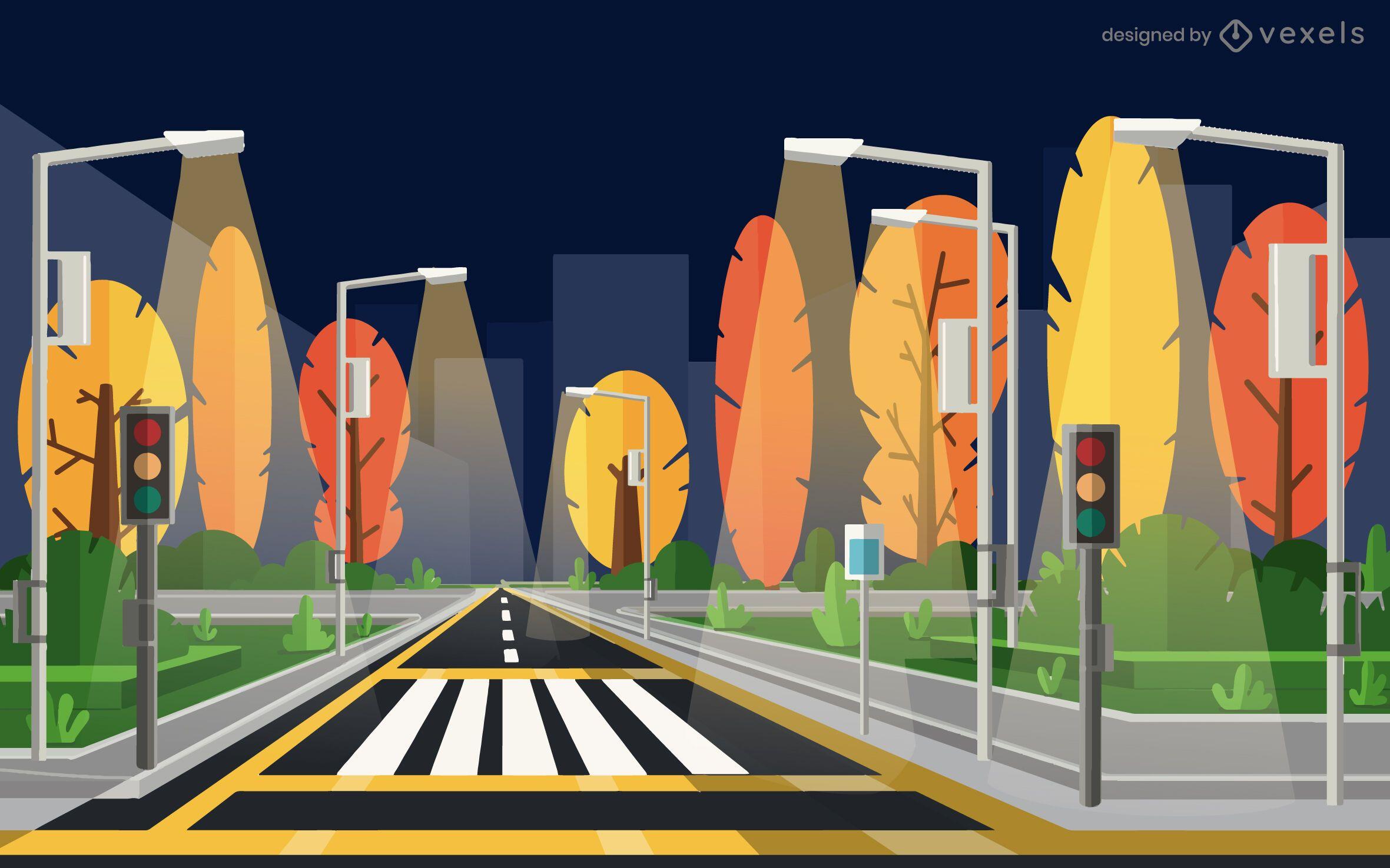 night city street illustration design