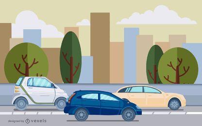 Diseño de ilustración de la calle de coches