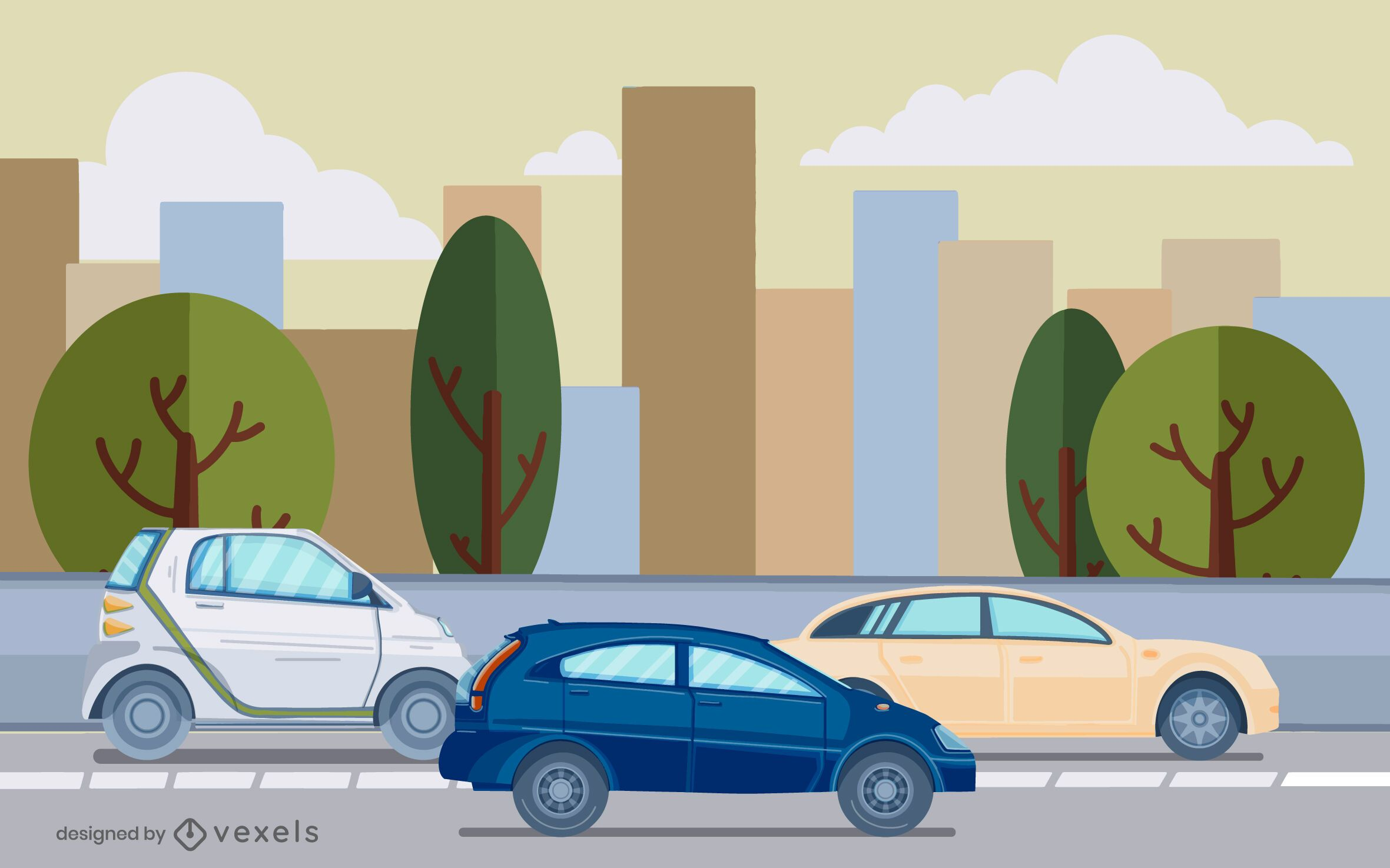 cars street illustration design