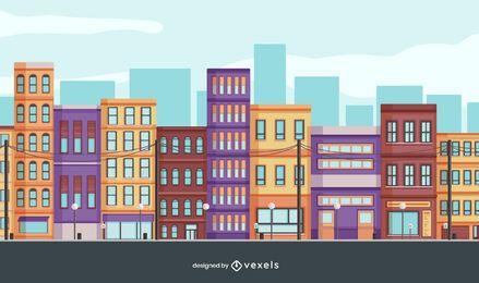 diseño de ilustración de la ciudad de edificios
