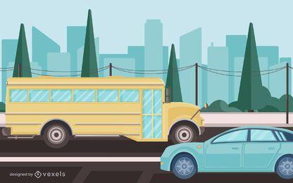 school bus street illustration